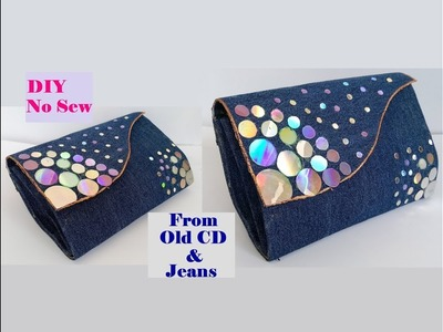 How To Make Clutch Purse With CD & Old Jeans. No Sew Clutch Purse.Best out of Waste