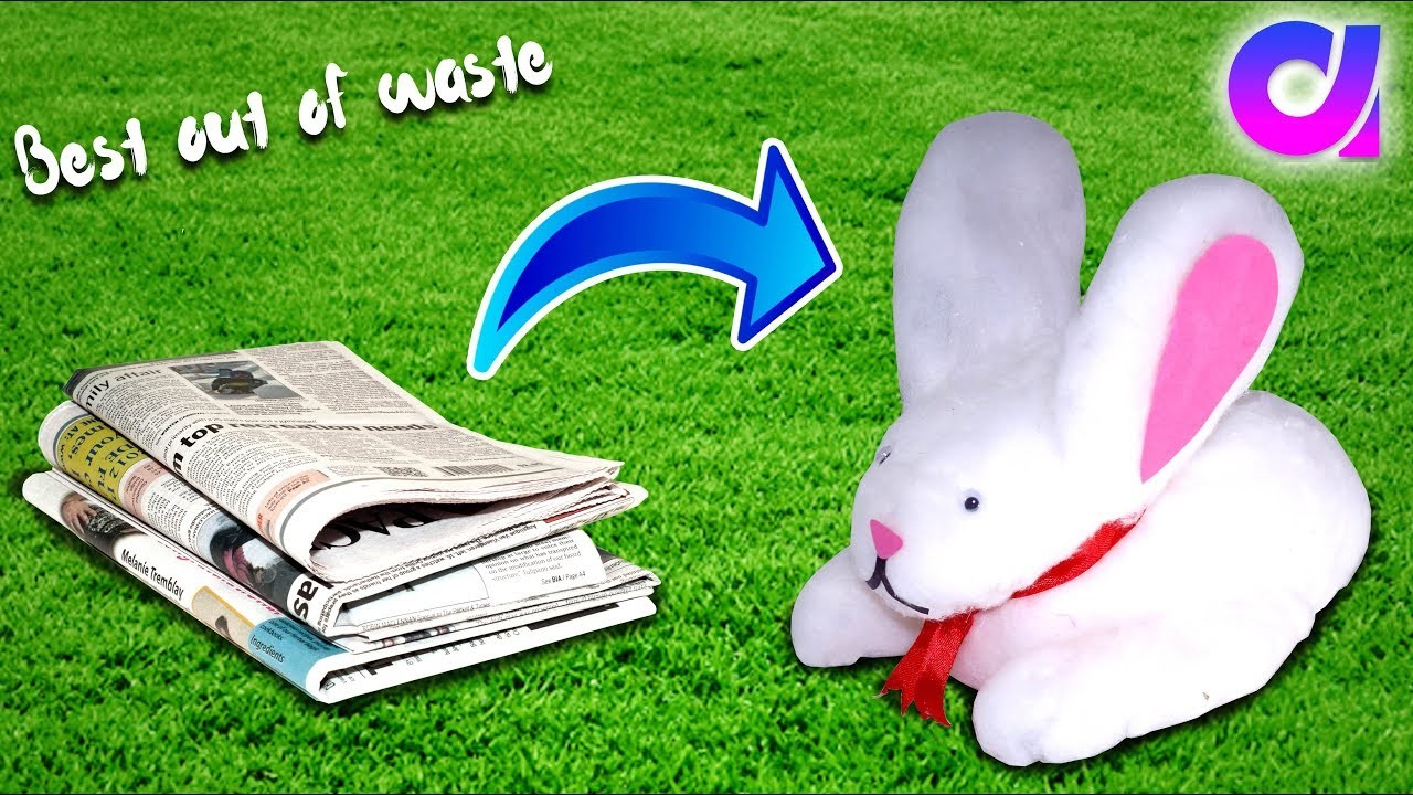 how to make rabbit with newspaper