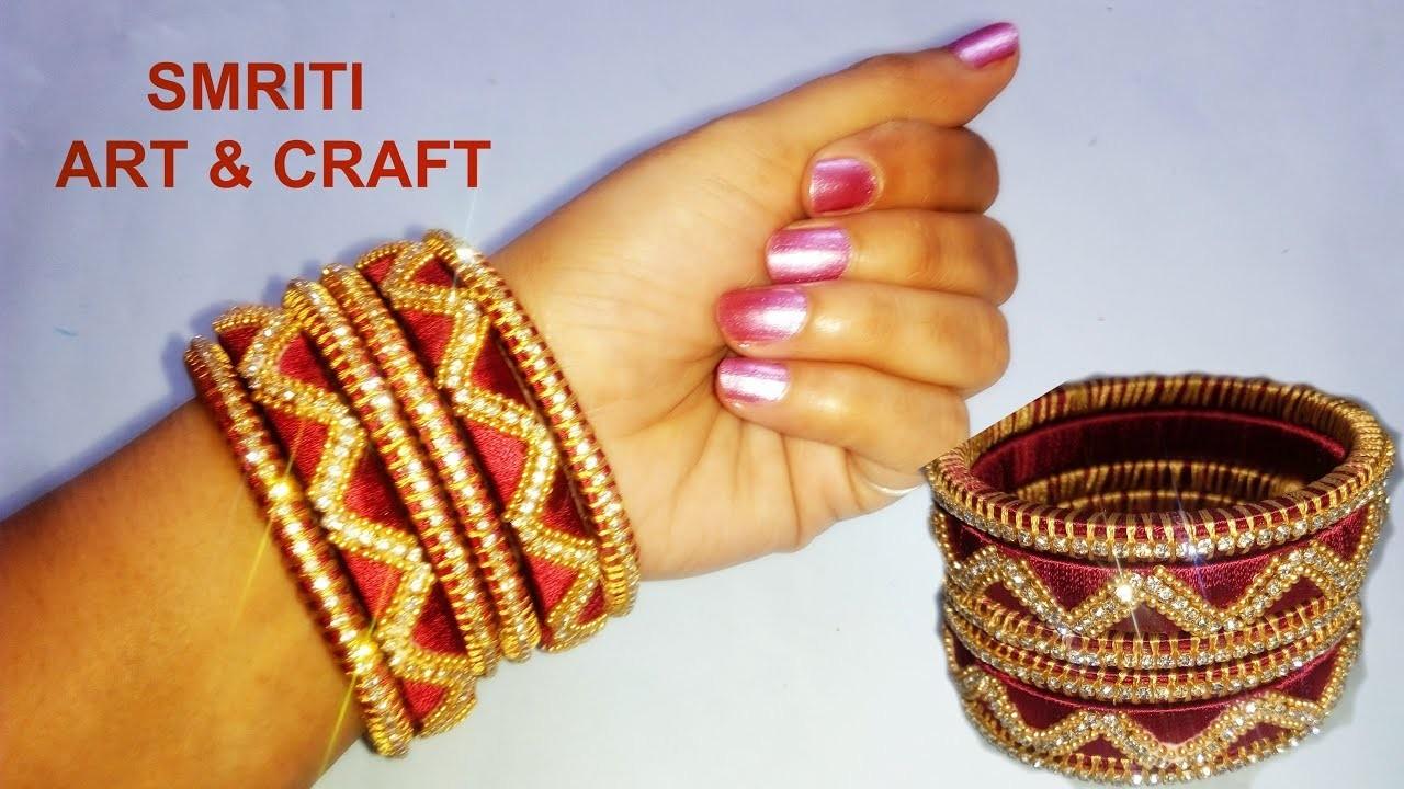 How to make Designer Silk Thread Bangles || Designer Bridal Bangles Set at home