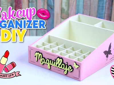 HOW TO MAKE DIY EASY AND USEFUL MAKEUP ORGANIZER MADE WITH CARDBOARD BOXES - RECYCLED CRAFTS