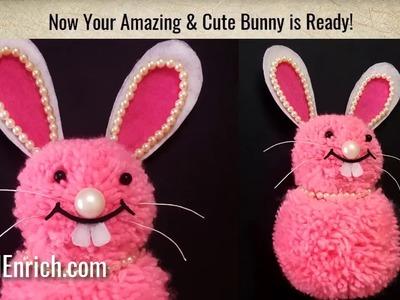 How to make DIY Pom Pom Bunny | Easy Stuffed Woollen Rabbit | Kids Craft | StylEnrich
