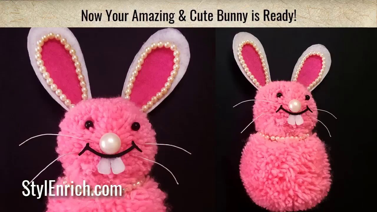 How to make DIY Pom Pom Bunny | Easy Stuffed Woollen Rabbit | Kids Craft | StylEnrich
