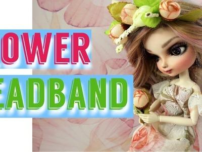 How To Make Doll Flower Headband Hairband for Barbie, Monster High, Bratz, Blythe, BBgirl, BJD  DIY