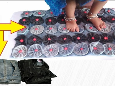How to make Doormat with old jeans  Make Awesome Door Mat,Rugs,Table Mat,Carpet from old waste Cloth