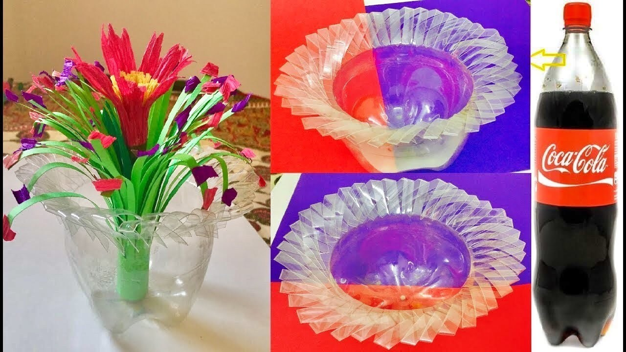 How to make flower vase from waste plastic bottles for Plastic bottle vase craft