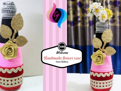 How to make flower vase with waste material - Creative things to do with glass bottles