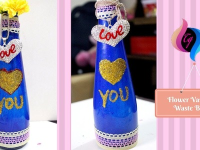 How to make flower vase with waste material -  Flower Vase from Waste Bottle - Recycled Bottle Craft