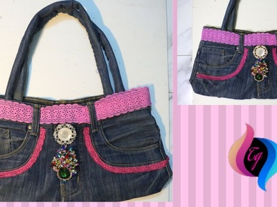 How to make handbag from old jeans - Jeans bags handmade - Recycle old jeans