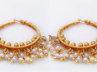 How To Make Hoop Earrings  Designer Earrings  Loreal Earrings. !