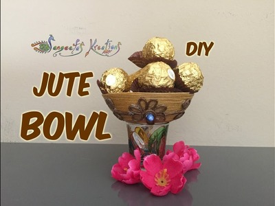 How to make Jute Bowl - DIY.Diwali Special - New year.Christmas  - Sangeetas Kreations