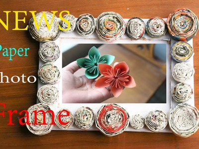 How To Make News Paper Photo Frame Easily   Paper Origami   Paper Handicraft instantly (Eti's etc)
