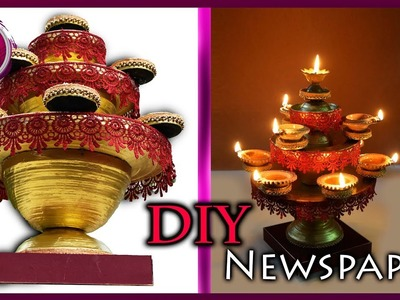 HOW TO make : Newspaper Diya Stand|Fire proof|Best out of waste|Art with Creativity 259