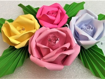 How to make origami rose paper flowers| Rose paper flowers making| Rose craft flowers