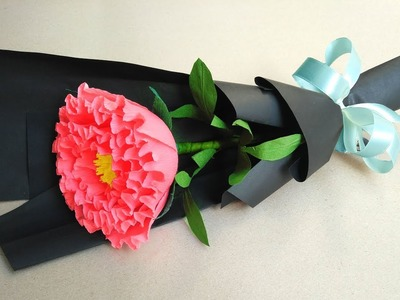 How to make paper flower bouquet at home - Easy Peony Paper Flower Bouquet For Beginner.