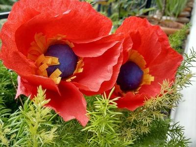 How To Make Poppy Flower From Crape Paper   Pretty Poppy Flower