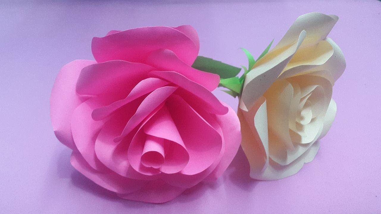 How to Make Rose Flower with Color Paper | DIY Paper Flowers Making
