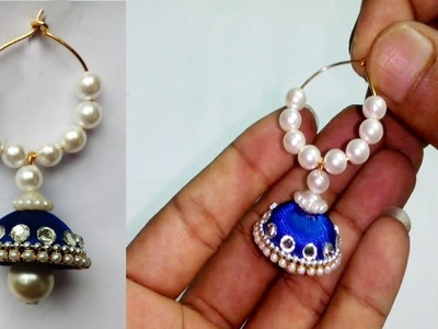 How To Make Silk Thread Jhumkas Hoop Style - Beautiful Blue colour  jhumkas with Pearls