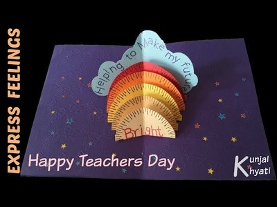 How to make:Thank you card for your teacher-Stand up Pop up Card-DIY Teacher's Day Card Making Idea