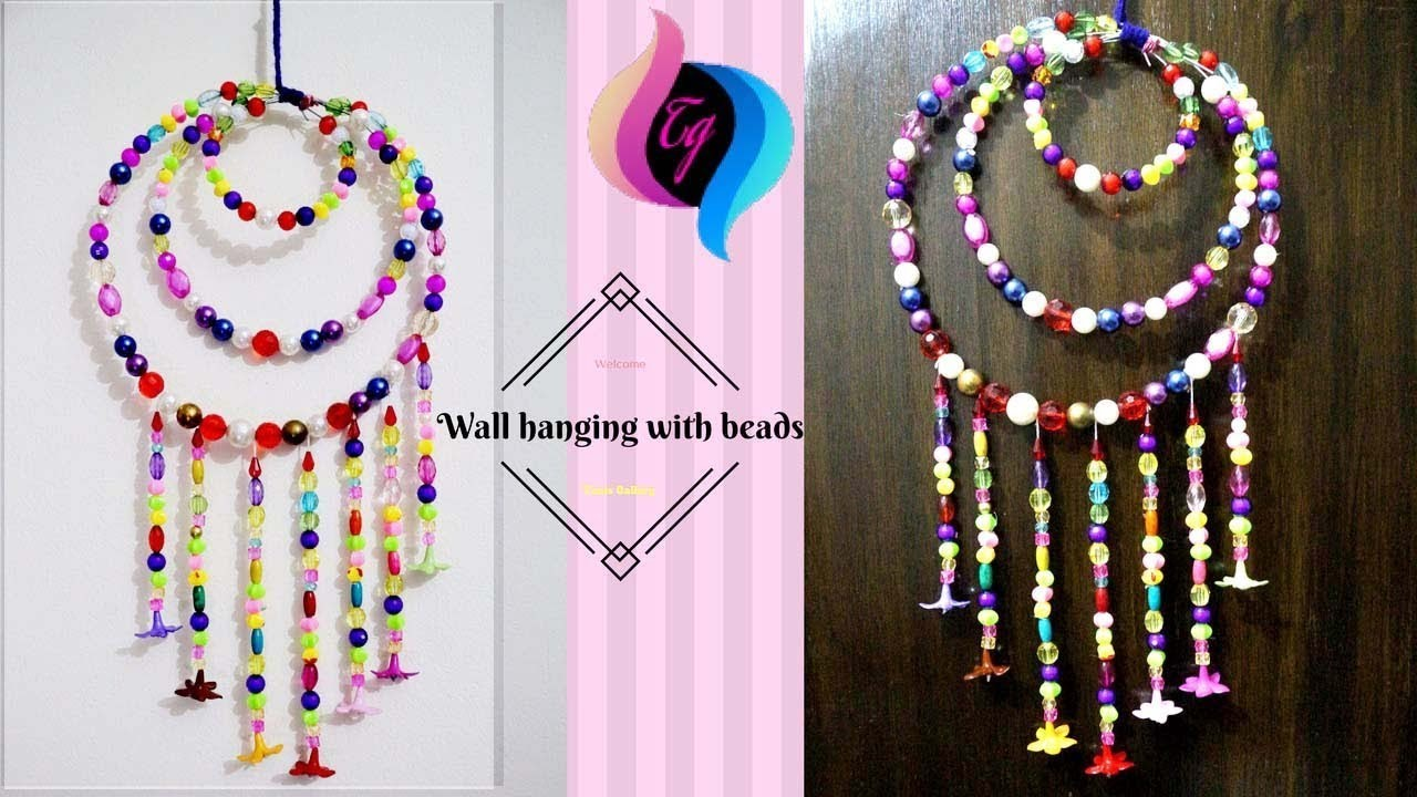 How To Make Wall Hanging With Beads Hanging Beads Decoration Home Decor Ideas For Living Room