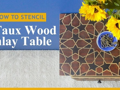 How to Stencil & Stain Furniture with a Faux Wood Inlay