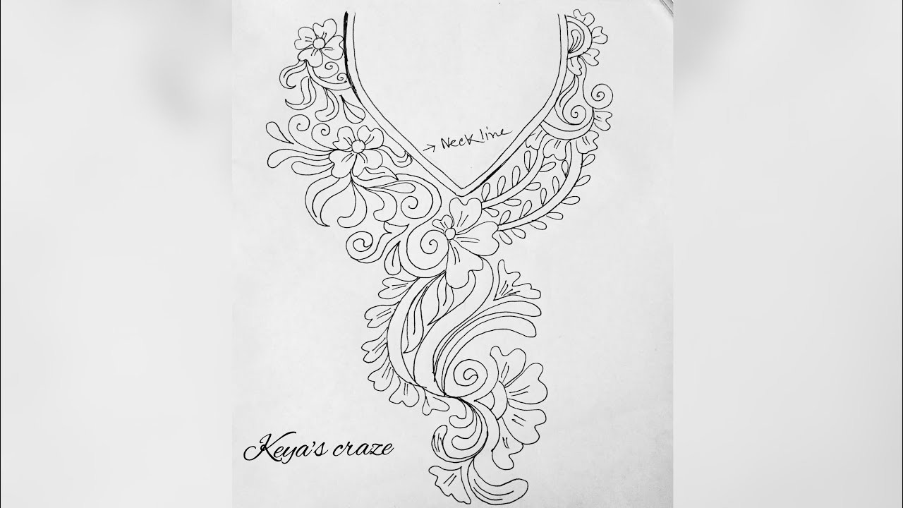 Neckline Drawing : Neck design drawing for hand embrodiary how to draw an