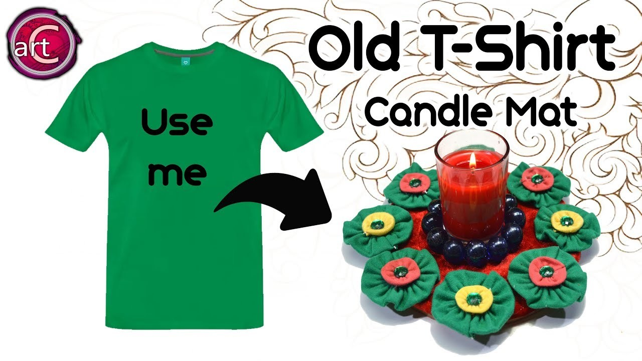 Old cloth reuse | How to make Candle mat with old T-Shirt | Best out Waste | Art with Creativity 272
