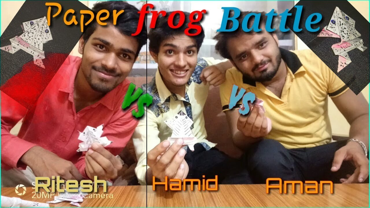 Paper frog battle. Origami how to make paper jumping frog
