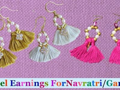 Tassel earrings | How to make silk thread Tassel earrings at home |Navratri.Garba jewellery making