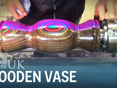 This carpenter shows how to make a beautiful vase out of four pieces of dyed wood