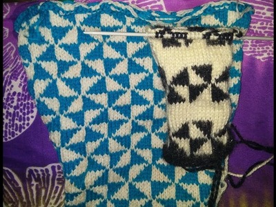 Two colour knitting design in hindi