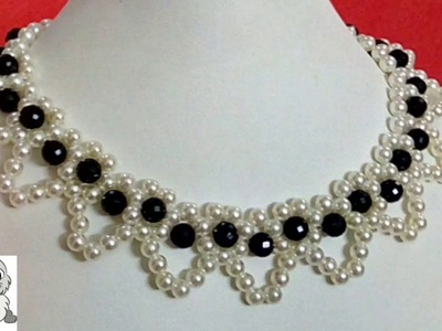#19 How to Make Pearl Beaded Necklace || Diy || Jewellery Making