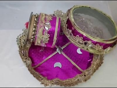 DIY KarvaChauth Puja Thali Set Making Idea   How To   CraftLas