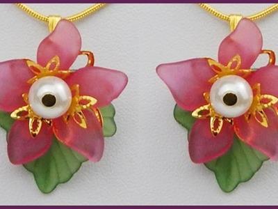 DIY | Perlen Blumen Kettenanhänger | Acrylic flower bead necklace pendant | Beaded jewelry