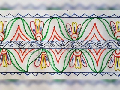Hand embrodiary design | How to draw an easy border design for hand embroidery | 114