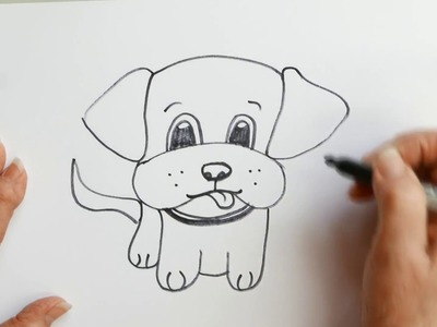 How to draw a Cartoon Puppy