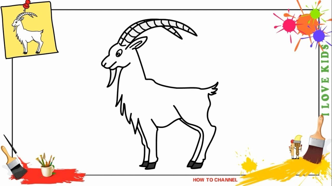 How To Draw A Goat Easy Slowly Step By Step For Kids And Beginners
