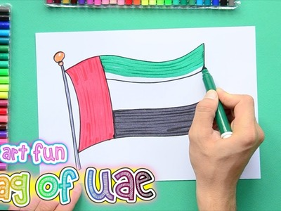 How to draw and color the National Flag of UAE
