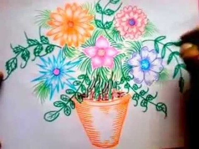 How To Draw Different Flowers in a pot - Arts and Crafts for Children