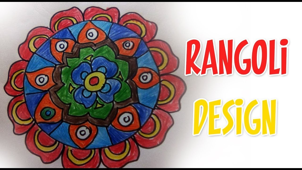 How To Draw Rangoli Designs On Paper Very Easy Step By Step Drawing