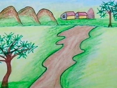 How to drawing for beginners | draw for kids | Color for children | Scenery draw | scenery painting