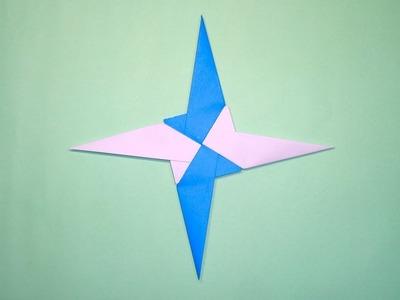 How To Fold Paper Ninja Stars - ( Origami Shuriken ) Easy Paper Toys Ninja Stuff