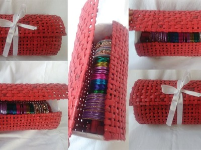 How to make a Hand made Bangle Box from newspaper   BANGLEBOX   Beautiful Bangle Box at home