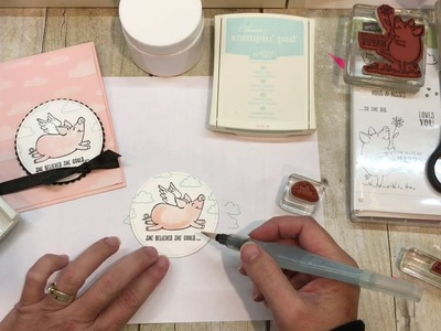 How to make a sweet This Little Piggy Card with Embossing Paste