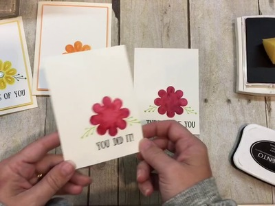 How to make a trio of flower cards with Stampin Up's August 2017 Paper Pumpkin Kit