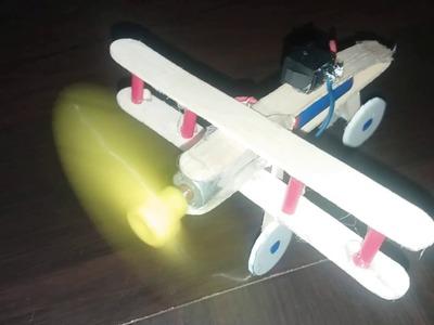 How to make Aeroplane use DC motor  [Ice Cream Stick]