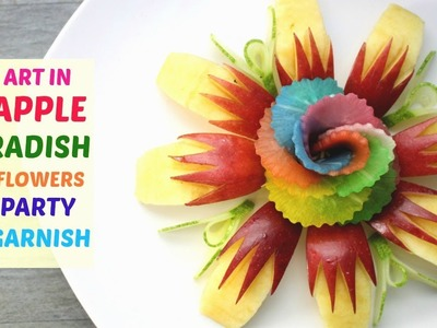 How To Make Apple and Radish Rose Flowers - Art In Fruit And Vegetable Carving Garnish