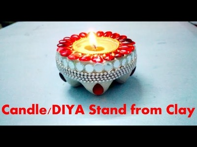 How to make Diya.Candle stand from Shilpkar Clay || Diwali Special Home decor || Diy 4