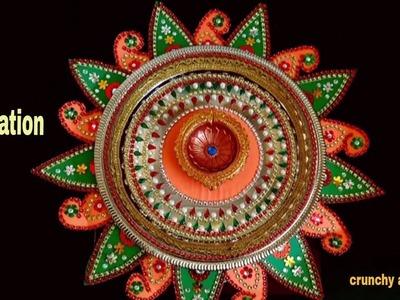 How to make easy thali decoration at home.pooja thali making.make diy paper thali at home