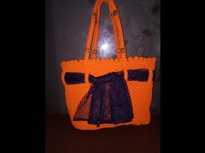 How To Make Hand Bag With Macrone Dori In Hindi.