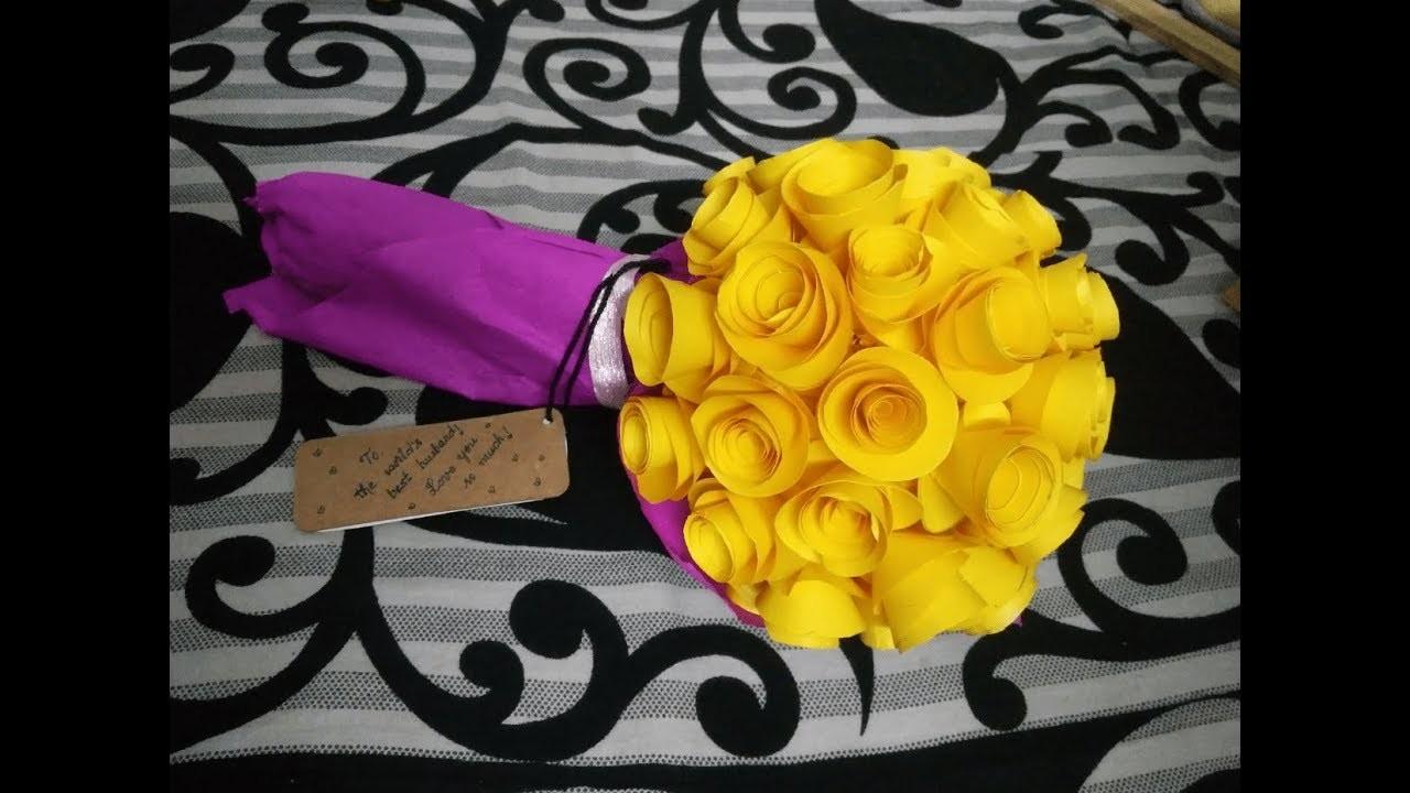 How to make paper flower bouquet - DIY Rose bouquet